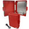 Altelix 14x11x5 Red Polycarbonate + ABS Weatherproof NEMA Enclosure with Aluminum Mounting Plate, 120 VAC Outlets and Power Cord