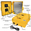 Altelix 14x11x5 Yellow Polycarbonate + ABS Vented Fan Cooled Weatherproof NEMA Enclosure with Aluminum Mounting Plate, 120 VAC Outlets & Power Cord