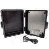 Altelix 14x11x5 Black Polycarbonate + ABS Weatherproof NEMA Enclosure with Aluminum Mounting Plate, 120 VAC Outlets and Power Cord