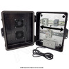 Altelix 14x11x5 Black Polycarbonate + ABS Vented Fan Cooled Weatherproof DIN Rail NEMA Enclosure with 120 VAC Outlets & Power Cord