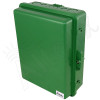 Altelix 14x11x5 Green Polycarbonate + ABS Weatherproof NEMA Enclosure with Aluminum Mounting Plate, 120 VAC Outlets and Power Cord