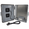 Altelix 14x11x5 Polycarbonate + ABS Vented Fan Cooled Weatherproof NEMA Enclosure with Aluminum Mounting Plate, 120 VAC GFCI Outlets & Power Cord