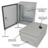 Altelix 16x12x8 Steel NEMA 4x / IP66 Weatherproof Equipment Enclosure with Blank Steel Equipment Mounting Plate