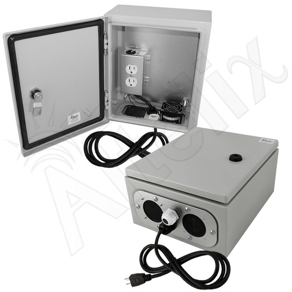 Altelix 12x10x6 Steel Weatherproof NEMA Enclosure with Cooling Fan, 120 VAC Outlets and Power Cord