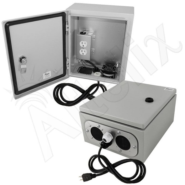 Altelix 12x10x6 Steel Weatherproof NEMA Enclosure with 120 VAC Outlets, Power Cord & 85°F Turn-On Cooling Fan