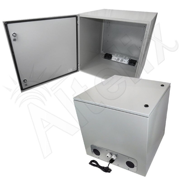 Altelix 24x24x24 Steel Weatherproof NEMA Enclosure with 120 VAC Outlets, Power Cord & 85°F Turn-On Cooling Fans