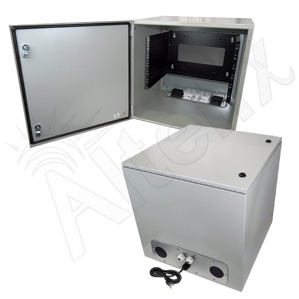 "Altelix 24x24x24 120VAC 20A Steel NEMA Enclosure for UPS Power Systems with 19"" Wide 6U Rack, 20A Power Outlets, Power Cord & 85°F Turn-On Cooling Fans"