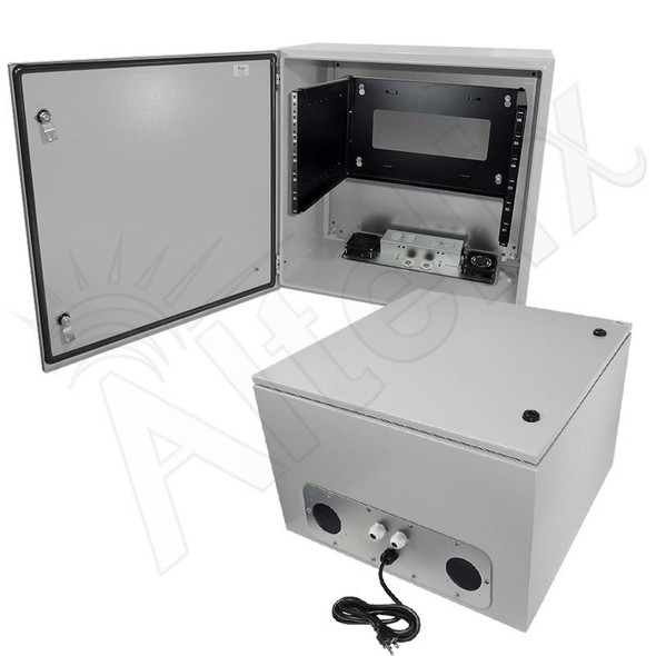 "Altelix 24x24x16 120VAC 20A Steel NEMA Enclosure for UPS Power Systems with 19"" Wide 6U Rack, 20A Power Outlets, Power Cord & 85°F Turn-On Cooling Fans"
