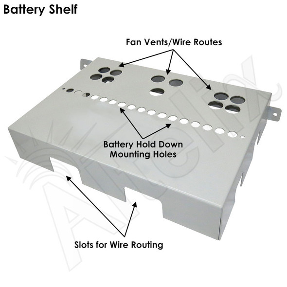 Steel Battery/Utility Shelf with Adjustable Battery Hold Down for NS Enclosures