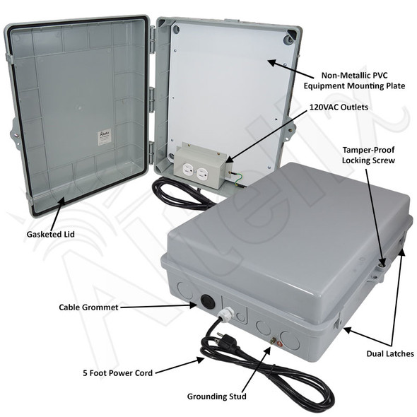 Altelix 17x14x6 Polycarbonate + ABS Indoor / Outdoor RF Transparent Enclosure with PVC Non-Metallic Equipment Mounting Plate, 120 VAC Outlets & Power Cord
