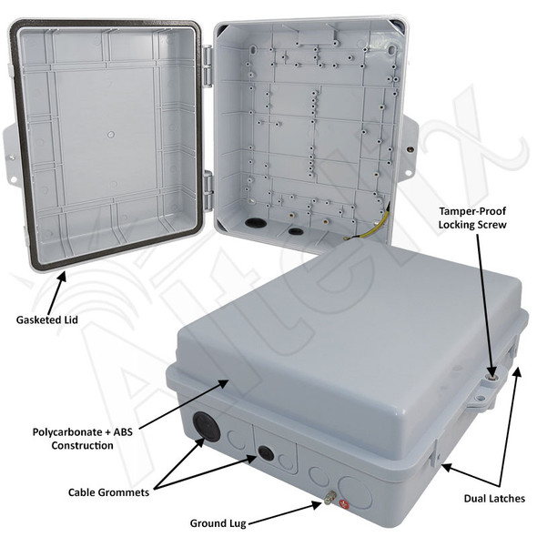 Altelix 14x11x5 IP55 NEMA 3R PC+ABS Plastic Weatherproof Utility Enclosure with Hinged Door