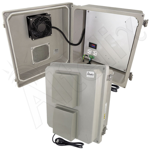 Altelix 14x12x8 Fiberglass Weatherproof Vented NEMA Enclosure with 120 VAC Outlets, Power Cord & Cooling Fan with Digital Temperature Controller