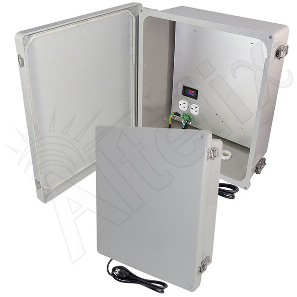 Altelix 14x12x6 Fiberglass Weatherproof Heated NEMA Enclosure with 120 VAC Outlets, Power Cord & 200W Heater with Digital Temperature Controller