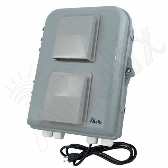 Altelix 13x10x4 PC+ABS Weatherproof Vented Utility Box NEMA Enclosure with Cooling Fan, 120 VAC Outlet & Power Cord