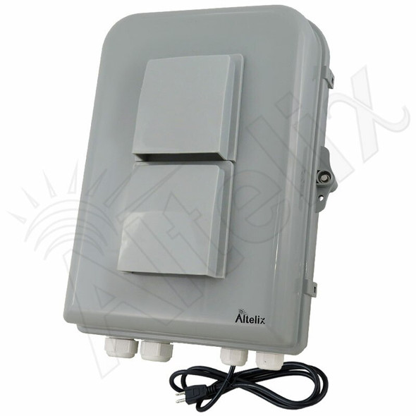 Altelix 15x10x5 Polycarbonate + ABS Vented Weatherproof Enclosure with Cooling Fan, 120 VAC Outlet & Power Cord