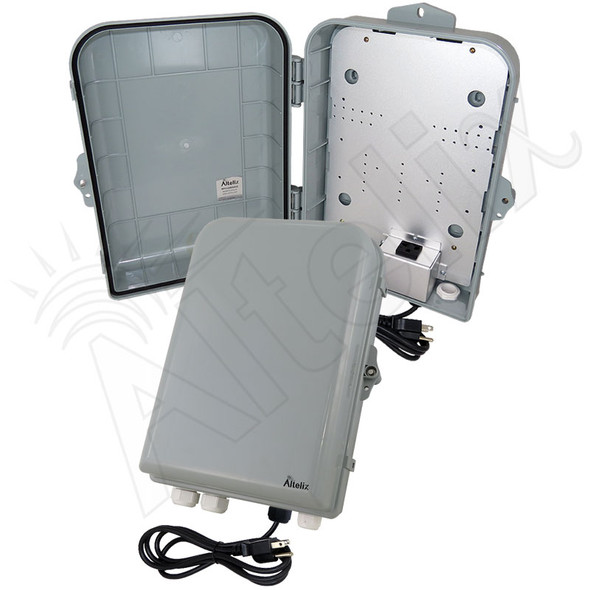 Altelix 15x10x5 NEMA 4X Polycarbonate + ABS Weatherproof Enclosure with Aluminum Mounting Plate, 120 VAC Outlet & Power Cord