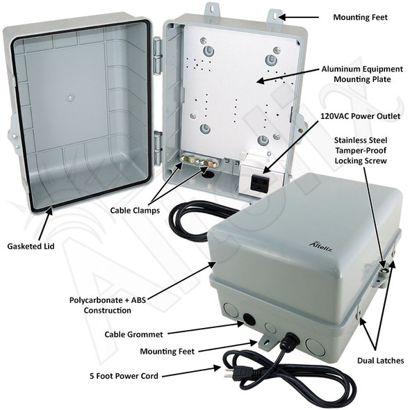 Altelix 12x9x7 NEMA 4X PC+ABS Weatherproof Utility Box NEMA Enclosure with Aluminum Mounting Plate, 120 VAC Outlet & Power Cord