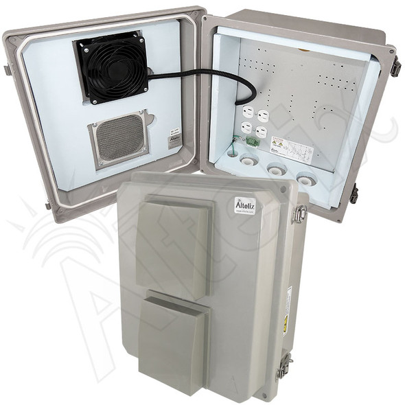 Altelix 14x12x8 Insulated Fiberglass Vented & Heated Weatherproof NEMA Enclosure with Cooling Fan 200W Heater 120 VAC Outlets