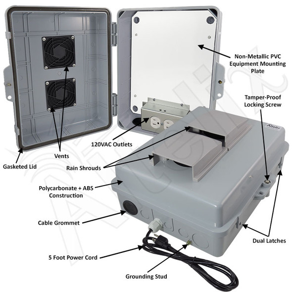 Altelix 14x11x5 Polycarbonate + ABS Vented Indoor / Outdoor RF Transparent Enclosure with PVC Non-Metallic Equipment Mounting Plate, 120 VAC Outlets & Power Cord