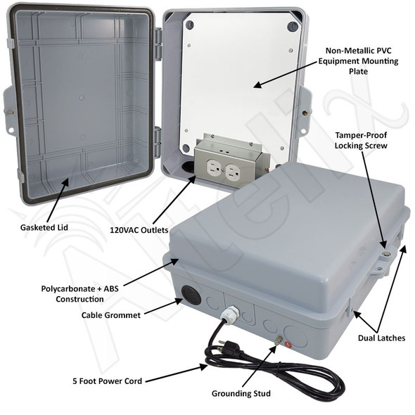 Altelix 14x11x5 Polycarbonate + ABS Indoor / Outdoor RF Transparent Enclosure with PVC Non-Metallic Equipment Mounting Plate, 120 VAC Outlets & Power Cord