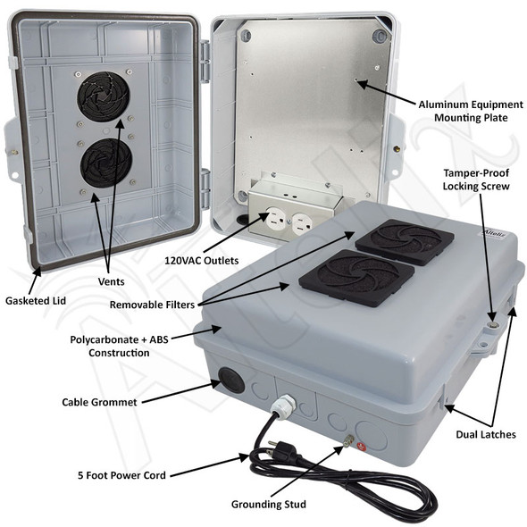 Altelix 14x11x5 Polycarbonate + ABS Vented Indoor Enclosure with Aluminum Mounting Plate, 120 VAC Outlets & Power Cord