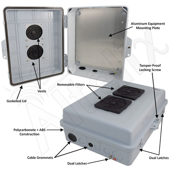 Altelix 14x11x5 Polycarbonate + ABS Vented Indoor Enclosure with Aluminum Mounting Plate