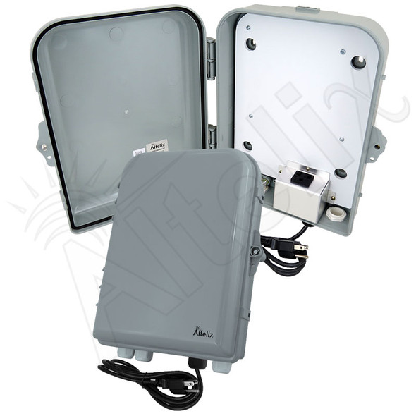 Altelix 13x10x4 PC+ABS NEMA 4X Indoor / Outdoor RF Transparent Enclosure with PVC Non-Metallic Equipment Mounting Plate, 120 VAC Outlets & Power Cord