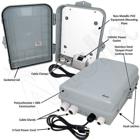 Altelix 15x10x5 PC+ABS NEMA 4X Indoor / Outdoor RF Transparent Enclosure with PVC Non-Metallic Equipment Mounting Plate, 120 VAC Outlets & Power Cord
