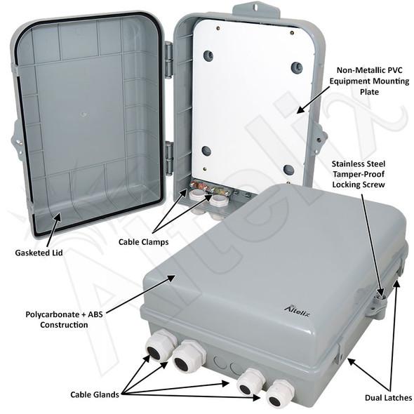 Altelix 15x10x5 Polycarbonate + ABS NEMA 4X Indoor / Outdoor RF Transparent Enclosure with PVC Non-Metallic Equipment Mounting Plate