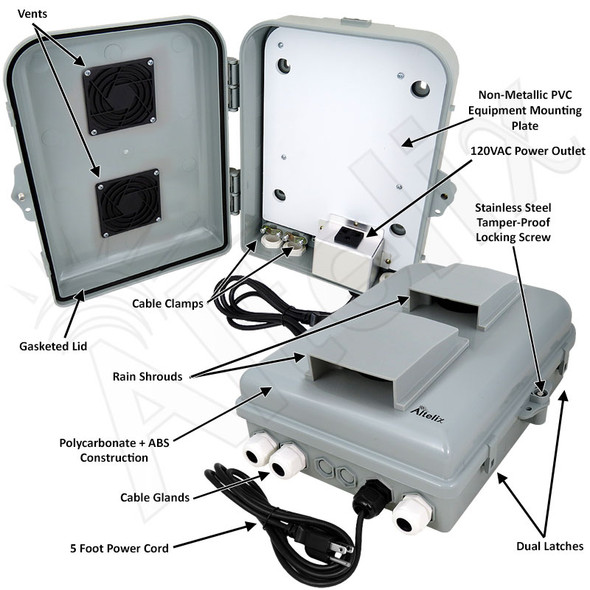 Altelix 13x10x4 PC+ABS Vented Indoor / Outdoor RF Transparent NEMA Enclosure with PVC Non-Metallic Equipment Mounting Plate, 120 VAC Outlets & Power Cord