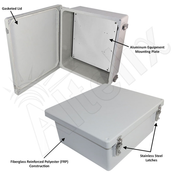 Altelix 14x12x6 FRP Fiberglass Weatherproof NEMA Enclosure with Blank Aluminum Mounting Plate
