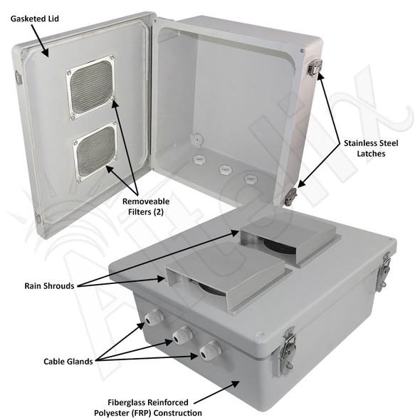 Altelix 14x12x6 Inch Vented Fiberglass Weatherproof NEMA Enclosure