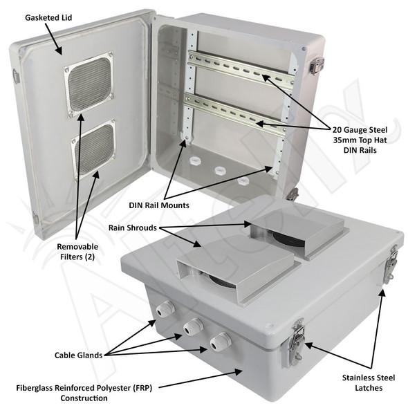 Altelix 14x12x6 Vented Industrial DIN Rail Fiberglass Enclosure Fiberglass