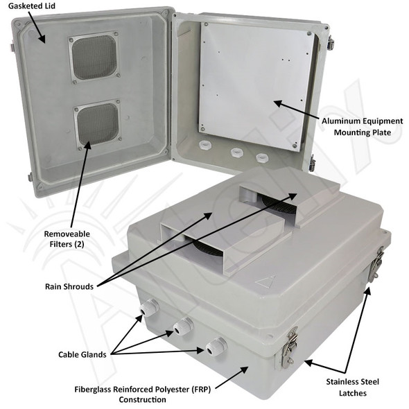 Altelix 14x12x8 Inch Vented Fiberglass Weatherproof NEMA Enclosure with Blank Aluminum Mounting Plate
