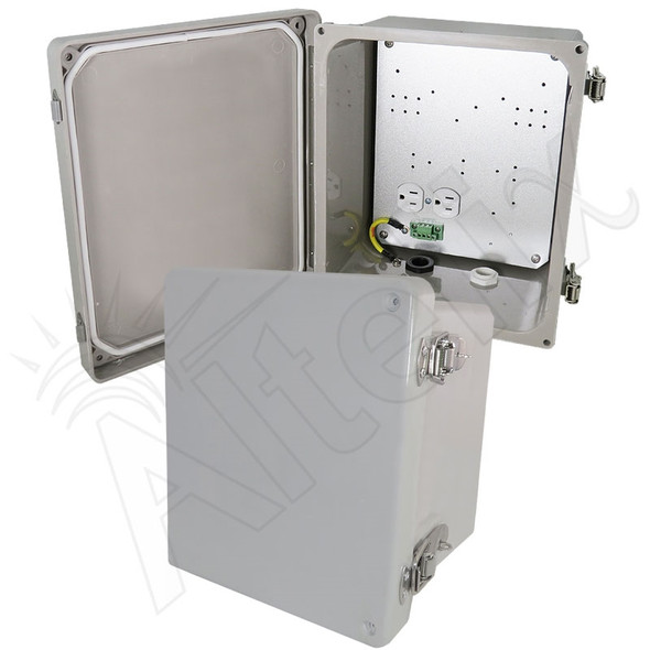Altelix 10x8x6 Inch Fiberglass Weatherproof NEMA 4X Enclosure with Aluminum Equipment Mounting Plate and 120VAC Outlets