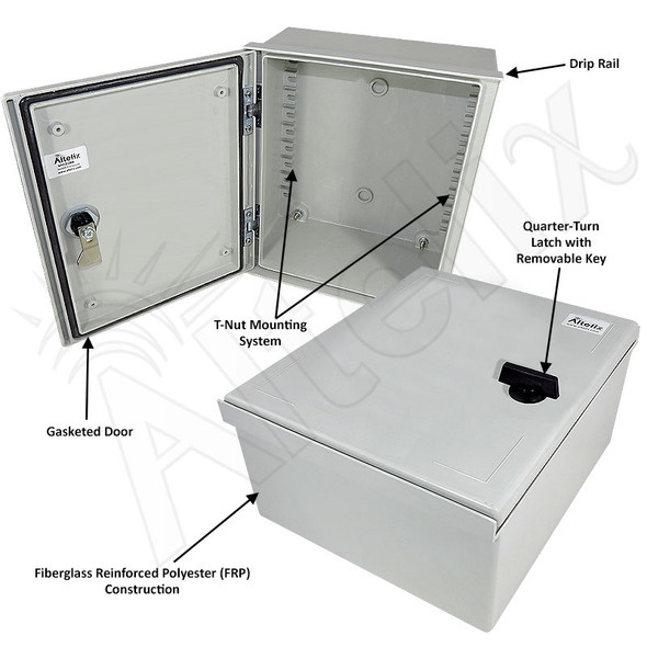 Altelix 12x10x6 Fiberglass FRP NEMA 3x / IP65 Weatherproof Equipment Enclosure