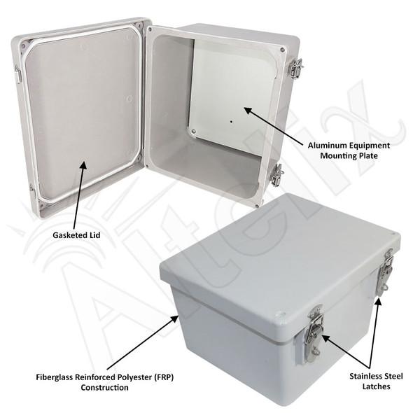 Altelix 10x8x6 Inch Fiberglass Weatherproof NEMA 4X Enclosure with Aluminum Equipment Mounting Plate