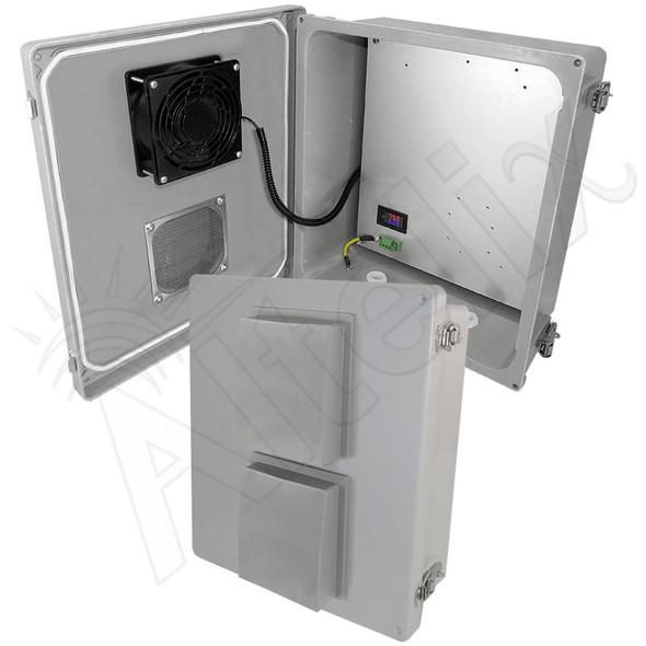 Altelix 14x12x6 Fiberglass Weatherproof Vented NEMA Enclosure with 12 VDC Cooling Fan & Digital Temperature Controller