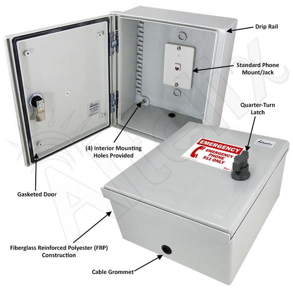 Altelix 14x12x6 Fiberglass NEMA 3X Outdoor Weatherproof Telephone Call Box with Emergency Phone Label