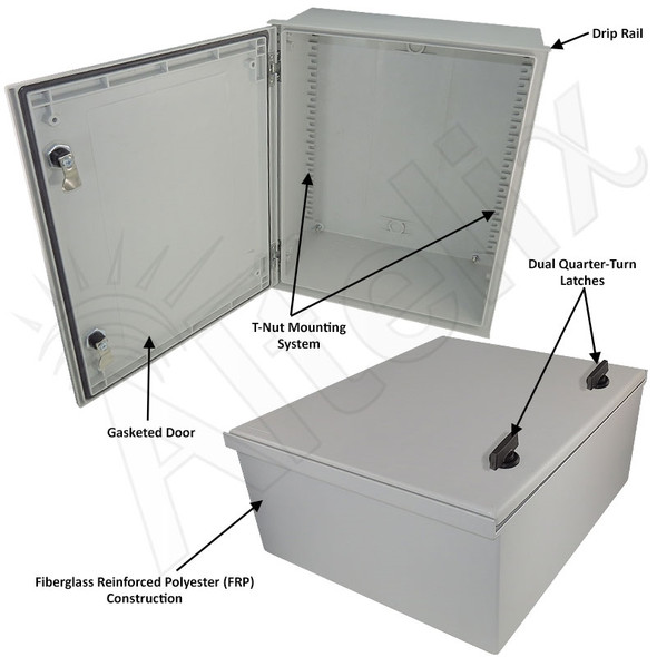 Altelix 20x16x8 Fiberglass FRP NEMA 3x / IP65 Weatherproof Equipment Enclosure