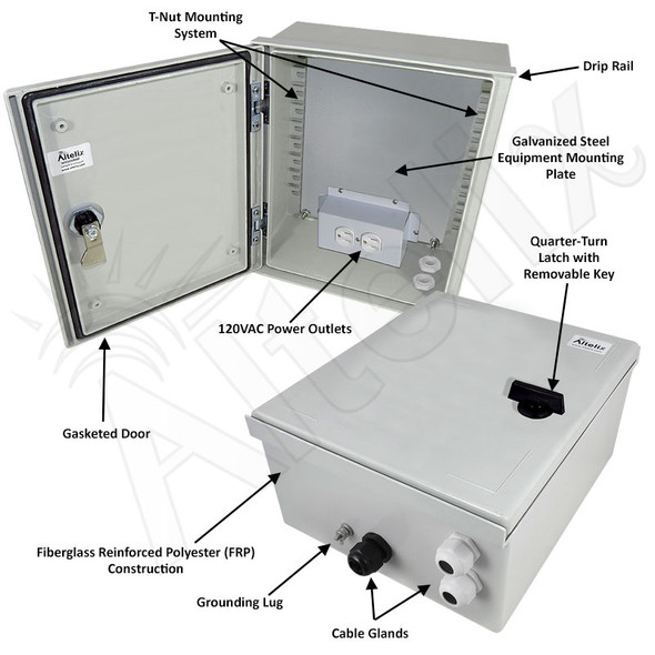 Altelix 12x10x6 NEMA 3X Fiberglass Weatherproof Enclosure with Equipment Mounting Plate & 120 VAC Outlets