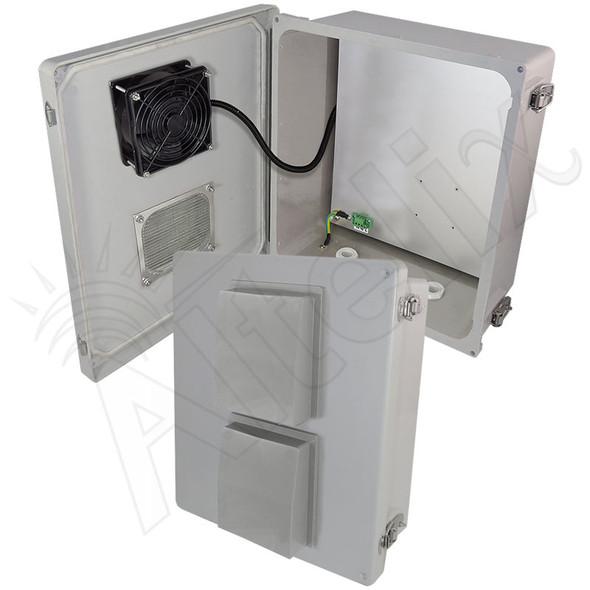 Altelix 14x12x6 Fiberglass Vented Weatherproof NEMA Enclosure with 48VDC Cooling Fan