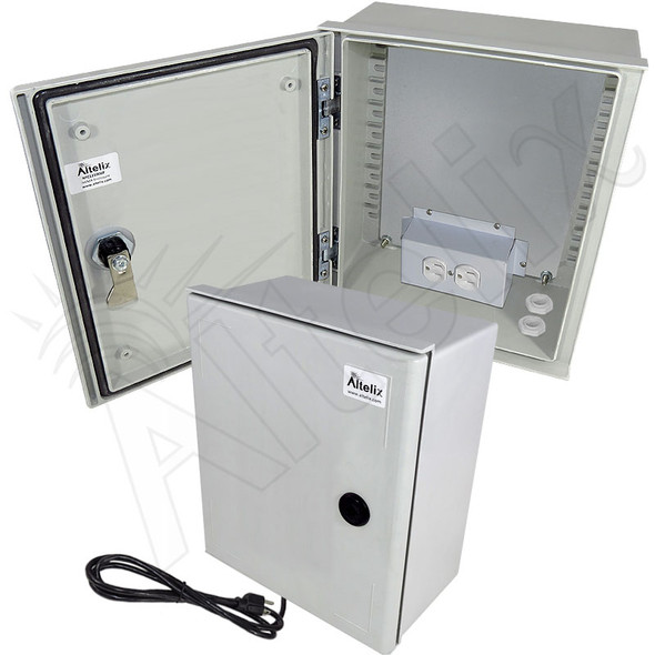 Altelix 12x10x6 NEMA 3X Fiberglass Weatherproof Enclosure with Equipment Mounting Plate, 120 VAC Outlets and Power Cord