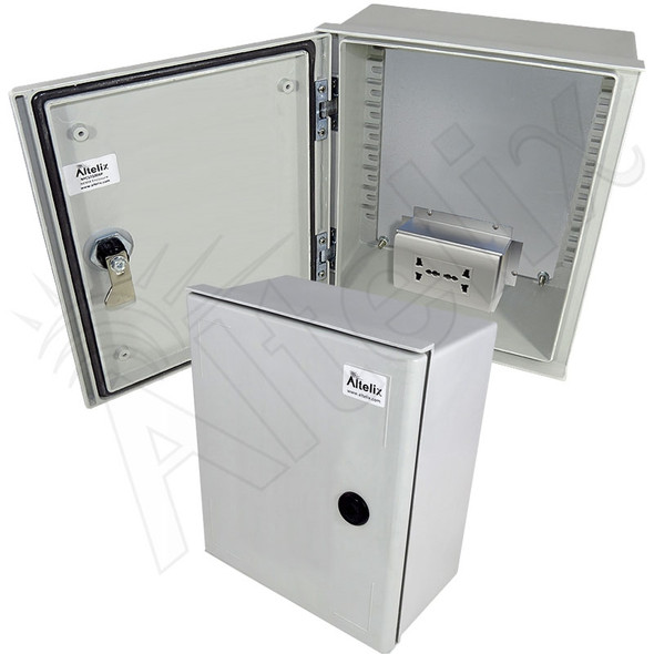 Altelix 12x10x6 NEMA 3X Fiberglass Weatherproof Enclosure with Equipment Mounting Plate & 100-240 VAC Universal Power Outlet
