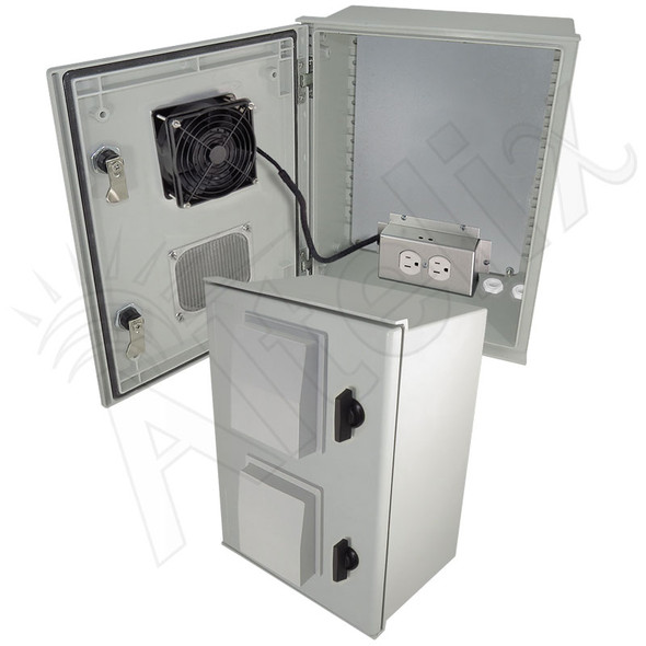 Altelix 16x12x8 Vented Fiberglass Weatherproof NEMA Enclosure with 120 VAC Outlets, 200W Heater & 85°F Turn-On Cooling Fan