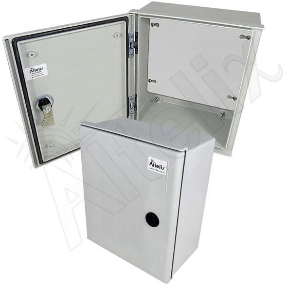 Altelix 12x10x6 NEMA 3X Fiberglass Indoor / Outdoor RF Transparent WiFi Access Point Enclosure with Non-Metallic Equipment Mounting Plate