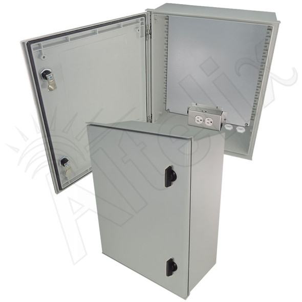 Altelix 20x16x8 Fiberglass FRP NEMA 4X / IP66 Heated Weatherproof Equipment Enclosure with Equipment Mounting Plate and 120VAC Outlets
