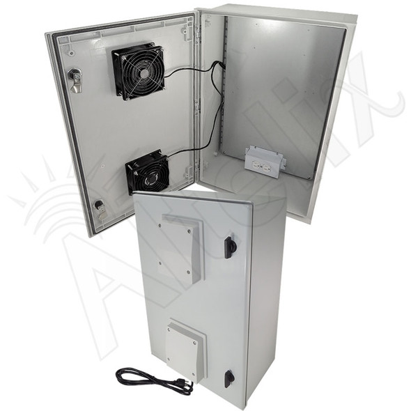 Altelix 24x16x9 Vented Fiberglass Weatherproof NEMA Equipment Enclosure with Dual Cooling Fans and 120VAC Outlets and Power Cord