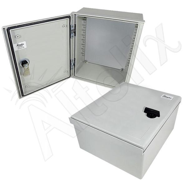 Altelix 12x10x6 Fiberglass FRP NEMA 3x / IP65 Weatherproof Equipment Enclosure with Blank Steel Equipment Mounting Plate