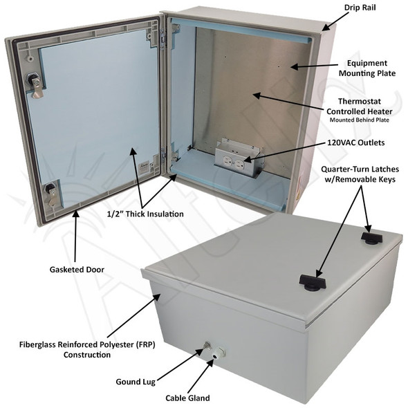 Altelix 20x16x8 Insulated NEMA 4X Fiberglass Heated Weatherproof Enclosure with 200W Heater and 120 VAC Outlets